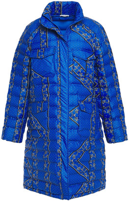 Ganni Quilted Printed Shell Coat