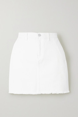 By Malene Birger Akania Frayed Organic Denim Mini Skirt - White