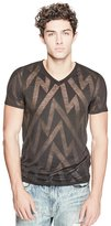 GUESS Zigzag V-Neck Tee