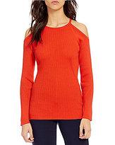 Trina Turk Kawaii Long Sleeve Cold Shoulder Knit Top