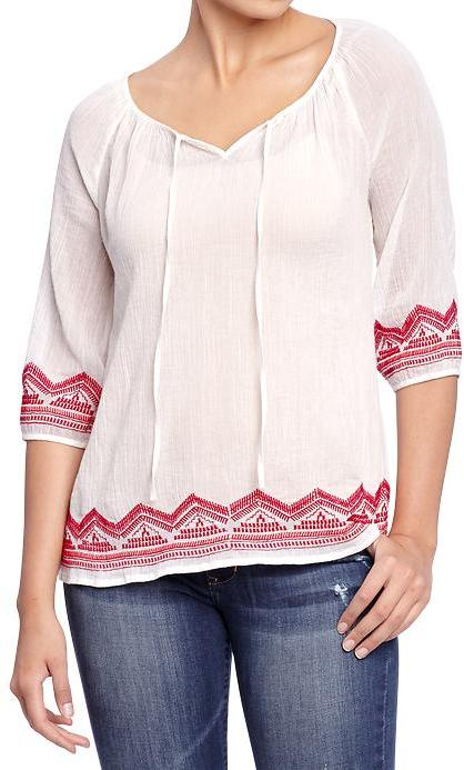 Old Navy Women's Embroidered Gauze Tops