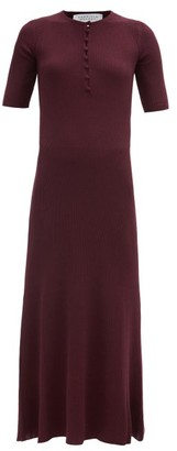 Gabriela Hearst Johanna Ribbed Cashmere-blend Longline Dress - Burgundy