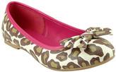 The Doll Maker Girls' Ballet Flats Leopard - Pink & Brown Leopard Bow Flat - Girls