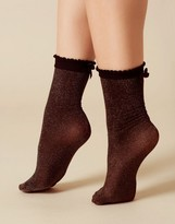 Agent Provocateur Glitzy Socks Black And Gold-One Size