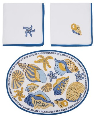 Loretta Caponi Set Of Two Embroidered Linen Napkins And Placemats - Blue Multi