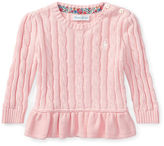Ralph Lauren Girl Cable-Knit Peplum Sweater