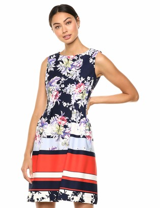 Taylor Dresses Women's Cap Sleeve Floral Print Fit and Flare Dress