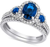 Macy's Sapphire (1-5/8 ct. t.w.) & Diamond (5/8 ct. t.w.) Bridal Set in 14k White Gold