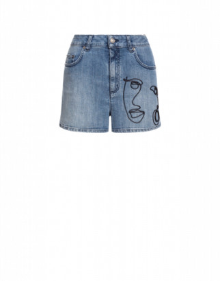 Moschino Denim Shorts With Cornely Embroidery