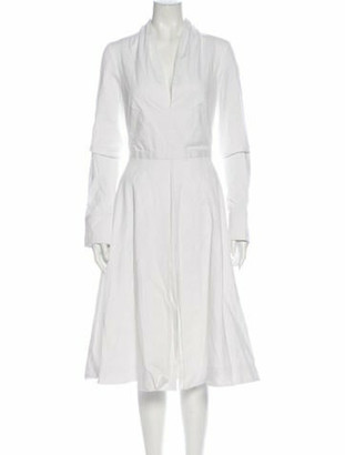 Brandon Maxwell Mock Neck Midi Length Dress w/ Tags White
