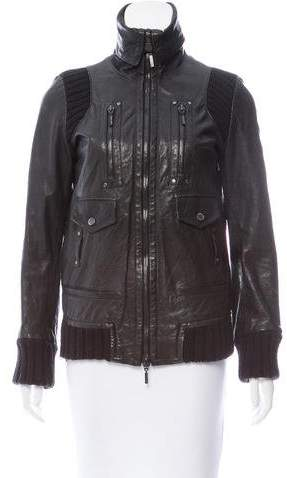 Plein Sud Jeans Paneled Leather Jacket