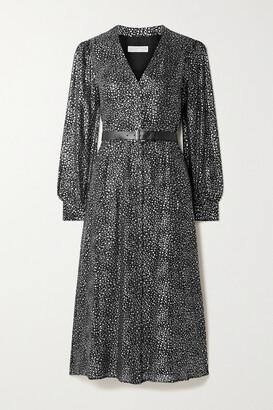 MICHAEL Michael Kors - Belted Metallic Printed Georgette Midi Dress - Black