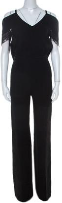 Roland Mouret Black Wool Crepe Cold Shoulder Fringed Burnstein Jumpsuit S
