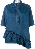 Marni ruffle asymmetric shirt - women - Cotton - 36