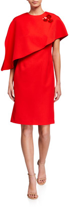 Rickie Freeman For Teri Jon Crepe Asymmetrical Capelet Dress with Pins