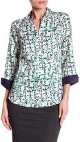 Foxcroft Taylor Abstract Plaid Print Shirt