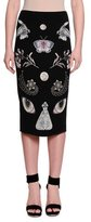 Alexander McQueen Obsessions At-The-Knee Pencil Skirt, Black/Multi/Pink