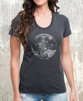 Etsy Women's Poly Cotton T-Shirt - Moon and Ravens - Women's American Apparel T-Shirt