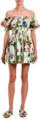 Dolce & Gabbana 1/2-Sleeve Floral-Print Poplin Dress