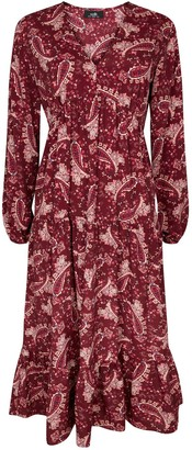 Wallis Paisley Tiered Dress - Red