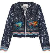 Peter Pilotto Cropped Crochet-Trimmed Embroidered Lace Jacket