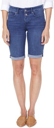 NYDJ Briella High Waist Two-Button Roll Cuff Denim Shorts