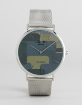 Reclaimed Vintage Camo Mesh Watch In Silver