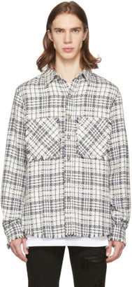 Faith Connexion Off-White and Navy Tweed Fitted Shirt
