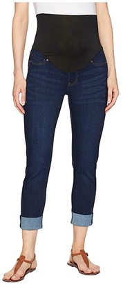 Liverpool Maternity Crop Wide Cuff in Premium Super Stretch Denim in Lakewood Mid