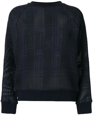 Mr & Mrs Italy Tartan Mesh Semi-Sheer Jumper