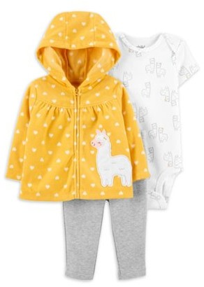 Child of Mine by Carter's Baby Girl Fleece Hooded Cardigan, Bodysuit, & Pants, 3pc Outfit Set