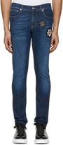 Alexander McQueen Indigo Embroidered Badges Jeans