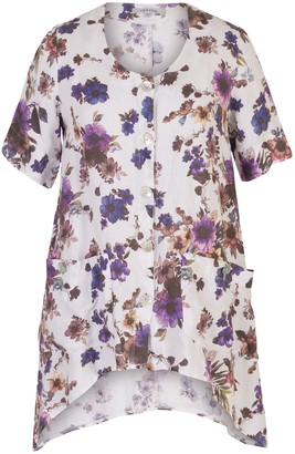 Chesca Floral Printed Linen Tunic, White/Purple