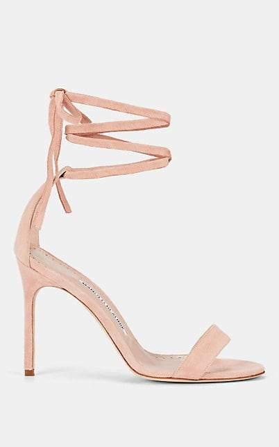 Manolo Blahnik Women's Chaosbow Suede Sandals - Pink Suede