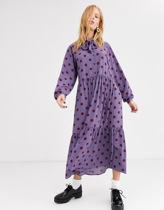 Monki maxi rust polka dot dress with pussy bow neck in purple