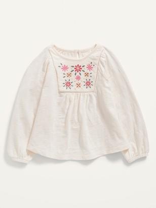 Old Navy Embroidered Raglan Slub-Knit Top for Toddler Girls