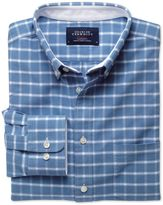 Charles Tyrwhitt Slim Fit Blue and White Check Washed Oxford Cotton Dress Shirt Size Medium