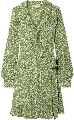 MICHAEL Michael Kors Ruffled Printed Washed-silk Wrap Mini Dress