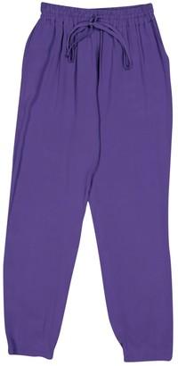 Fendi Purple Silk Trousers