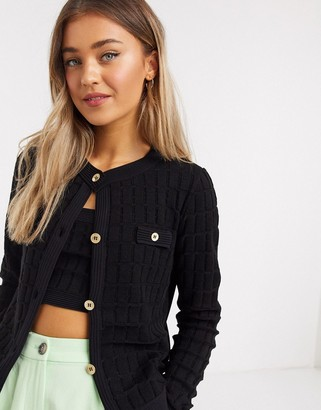 ASOS DESIGN co-ord boxy cardigan with gold buttons in black