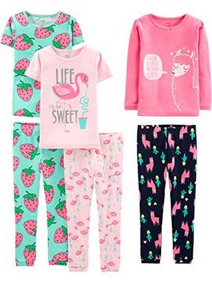 Carter's Simple Joys by Baby Girls' Toddler 6-Piece Snug Fit Cotton Pajama Set