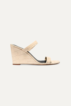 Diane von Furstenberg Vivienne Croc-effect Leather Mules - Off-white