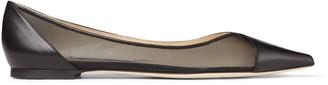 Jimmy Choo SAIA FLAT Black Leather and Mesh Pointed Toe Flats