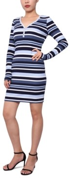 Planet Gold Juniors' Striped Henley Bodycon Dress