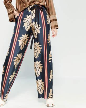 Alysi Wallpaper Print Silk Pants