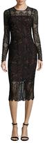 Rachel Roy Printed Gabardine Lace Overlay Sheath Dress