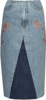 Aries Rose-embroidery denim skirt