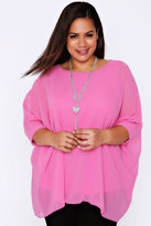 Yours Clothing Pink Batwing Sleeve Chiffon Top With Necklace