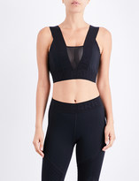 Ivy Park Pintuck Mesh Insert stretch-jersey cropped top