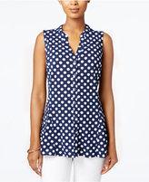 Charter Club Dot-Print Mesh Shirt, Only at Macy's